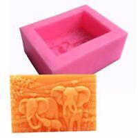Elephant Family Silicone Soap Candle Cake Molds Craft DIY Handmade Making Mould
