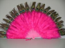 "MARABOU FEATHER FAN - Hot Pink / Peacock 24"" x 14"" Burlesque/Costume/Halloween"