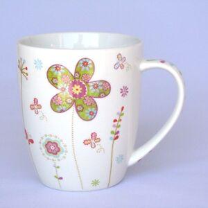 131832 - Becher mit Blumen grün - Tasse - Becher mit Henkel - Kaffeebecher - NEU