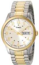 Mens Timex Indiglo Easy Reader Two Tone Stretch Expansion Day Date Watch T2M935