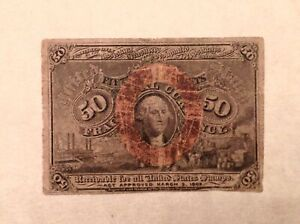 ~  50 CENTS SECOND ISSUE FRACTIONAL CURRENCY NOTE