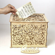 Wedding Card Box Wooden Rose Boxes Lock Party Wedding Decoration Money Case
