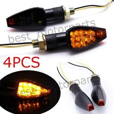 4X BLACK UNIVERSAL MOTORCYCLE TURN SIGNAL LED DUAL SPORT DIRT BIKE LIGHT BLINKER