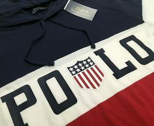 Polo Ralph Lauren Color-Blocked Chariots Logo Flag Stadium Track Hoodie Hi Tech