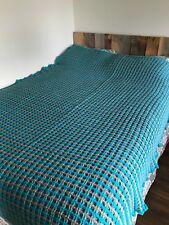 BRAND NEW HANDMADE Crochet Teal Gray Bedspread Comforter Quilt