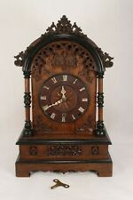 Large Rare Antique 40 Hour Dome top Cuckoo & Quail Mantel Shelf Clock