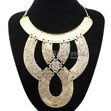 Cleopatra Egyptian Revival Vintage Gold Knot Carved Snake Gypsy Bib Necklace H9