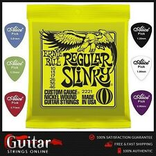 Ernie Ball 2221 Slinky Electric Guitar Strings 10-46 + 6 Mixed Alice Picks New