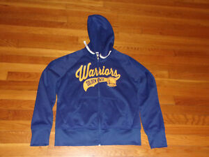 GOLDEN STATE WARRIORS FULL ZIP HOODED ATHLETIC JACKET WOMENS LARGE EXCELLENT