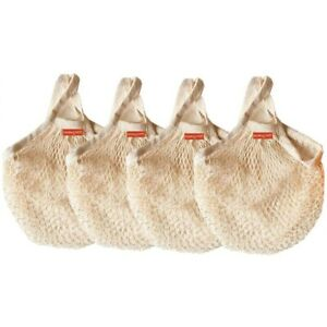 Reusable Mesh Grocery Bags Cotton String Bags Net Shopping Bags (Pack of 4)