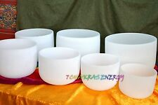 """chakras tunes 7pcs 7""""-12"""" frosted crystal singing bowls with 7pcs mallet+o-rings"""