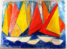Ölbild - Ölgemälde - Original - Segeltag – Boote – Segelboote - Mamassani