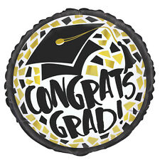 "GRADUATION BALLOON 18"" BLACK AND GOLD GRADUATION UNIQUE FOIL BALLOON"