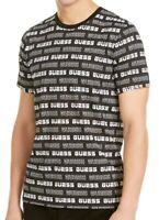 Guess Mens T-Shirt Black Size Large L Graphic Logo All Over Tee $39 #092