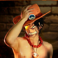 One Piece Portgas D Ace Cosplay Wooden Beads Necklace & Cosplay Hat Cap Costume