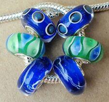 Green Blue Teal Peacock Tail Eye Single Core European Murano Glass Charms Beads