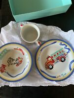 2005 Tiffany & Co FIRE STATION Child 3 Piece set Dalmation Plate, Bowl, Cup New