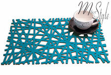 PAIR of Turquoise Felt Placemat Rectangle Table Mat Openwork Design