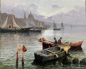 Dipinto Quadro Olio Su Tela 50x40 Controluce A Venezia