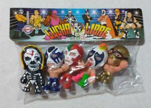"Wrestling 3"" set of 5 figures, Lucha Libre Luchadores Cabezones (3)"