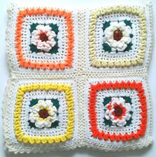 Crocheted Afghan Throw 3D Raised Flowers 16 Large Granny Squares Handmade