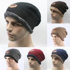 Unisex Wool Fleece Lined Winter Warm Hat Women Men Camping Beanie Baggy Ski Cap