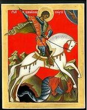 RUSSIAN ICON St George & the Dragon GOLD 925 HANDPAINTED gift for men