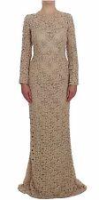 Dolce & Gabbana Dress Beige Floral Lace Sheath Maxi Full It40 / Us6/ S