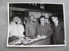 1960s Photo framed 24x18cm: Violinist Leonid Kogan in LP shop gives an autograph