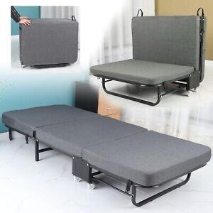 Rollaway Guest Bed Cot Fold Out Metal Bed w/ Memory Foam Mattress Bedroom Office