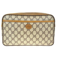 Authentic GUCCI GG Pattern Clutch Hand Bag PVC Leather Brown Italy 05MF182