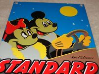 "VINTAGE STANDARD GASOLINE MICKEY MOUSE & MINNIE 11 3/4"" PORCELAIN METAL OIL SIGN"