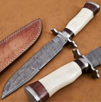 Handmade Damascus Steel 13 inches Bowie Knife – Camel Bone & Buffalo Horn Handle