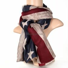 American Flag Star Striped Pattern Wide Cotton Wrap Soft Shawl Scarf for Ladies