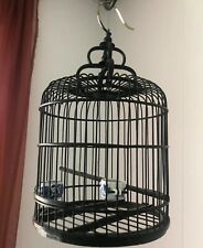 Vtg Oriental Chinese Asian Bamboo Wood Wooden Black Bird Cage Porcelain Bowls