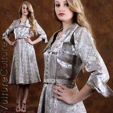 Vintage 50s Pin Up Rockabilly Dress BEST & CO 40s Silver Swing Burlesque 12 L