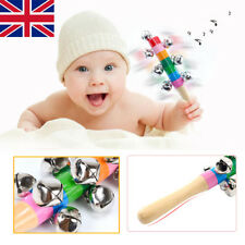 Colourful Rainbow Wooden Rattle Handle Bell Jingle Stick Shaker Toys Baby Kids