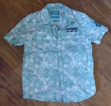 Boy's Next Mint Green Floral Leaf Print Short Sleeved Holiday Shirt Age 10 Years