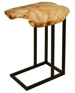 Beistelltisch Unikat Holzplatte Baumstamm Metall Sofatisch