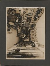 Large 1910 card Mounted Photo of Leather Horse Supplies Store Interior