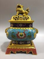 Chinese Antique Cloisonne hand-made Square lion incense burner Xuande Year