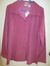 Passports Stretch Ladies Size X-Large Pink Button Front Jacket Top - Nwts