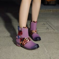 Round Toe Ankle Boots Faux Suede Floral Print Shoes Winter Retro Ying6