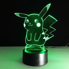LED Pokemon Pikachu Night Lamp Home Decoration Touch Switch Desk Light handmade!