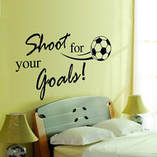 SHOOT FOR YOU GOALS Kids Room Sports Soccer Vinyl Wall Sticker Home Decal