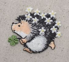 Hedgehog Clover/Daisy Flowers Pets/Animals - Iron on Applique/Embroidered Patch