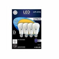 GE LED 9W (60W Equiv.) A19 Soft White light bulbs, 800 Lumens, 4 pack
