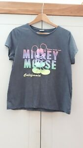 Disney Ladies grey tshirt with rainbow Mickey Mouse print ombre Size 14