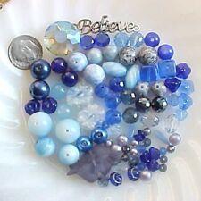 Lot Mixed Blue Bead Mix Czech Glass Destash DIY Jewelry Craft Summer Kids Camp