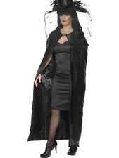 Halloween Fancy Dress Ladies Deluxe Satin Look Witch Cape Black Cloak by Smiffys